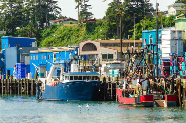 Bord de l'eau vue vieux pêche bateaux ciel Photo stock © jkraft5