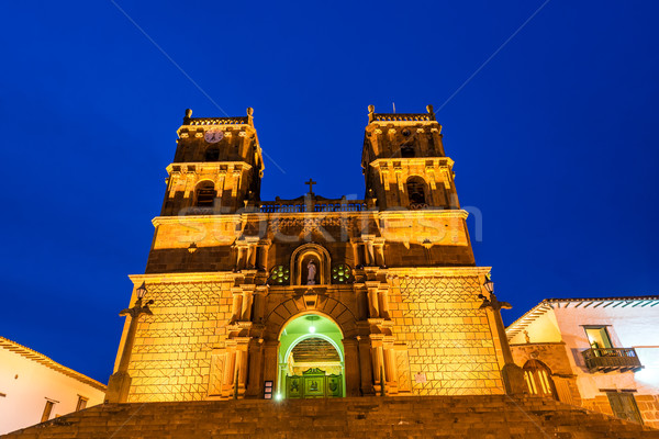 Barichara Cathedral at the Blue Hour Stock photo © jkraft5