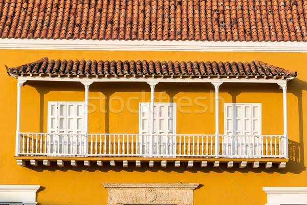 Stockfoto: Geel · witte · koloniaal · balkon · historisch · centrum