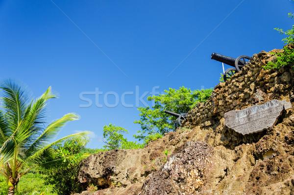 Fort rovine blu architettura isola tropicali Foto d'archivio © jkraft5