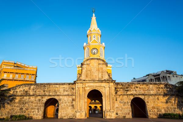 Zegar wieża bramy historyczny główny wejście Zdjęcia stock © jkraft5