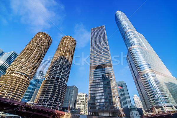 Chicago gratte-ciel vue centre-ville USA bureau Photo stock © jkraft5
