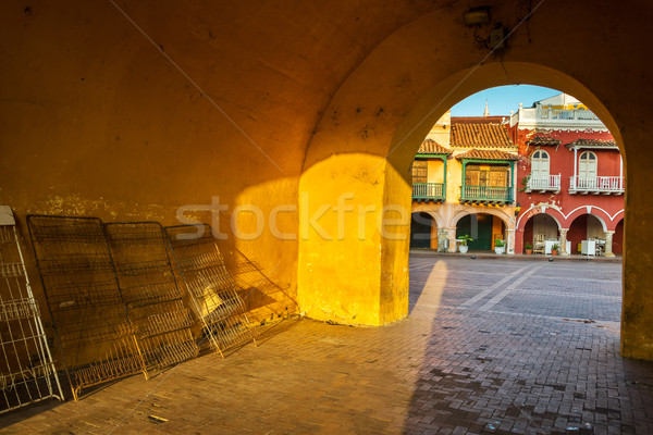 Stock photo: Passageway and Colonial Buildings
