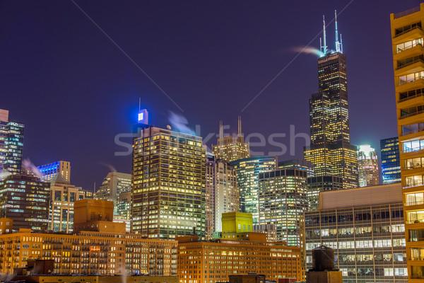 Chicago at Night Stock photo © jkraft5