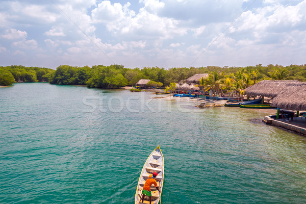 Canoa costa Caraibi cielo albero foresta Foto d'archivio © jkraft5