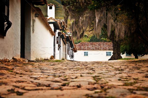 Ulicy poziom willi widoku kolonialny miasta Zdjęcia stock © jkraft5