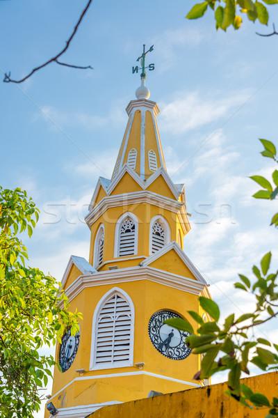 黄色 クロック 塔 ゲート メイン 入り口 ストックフォト © jkraft5