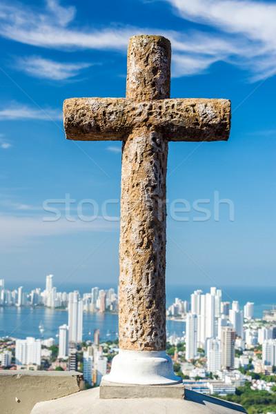 Croix ville pierre modernes Colombie visible Photo stock © jkraft5