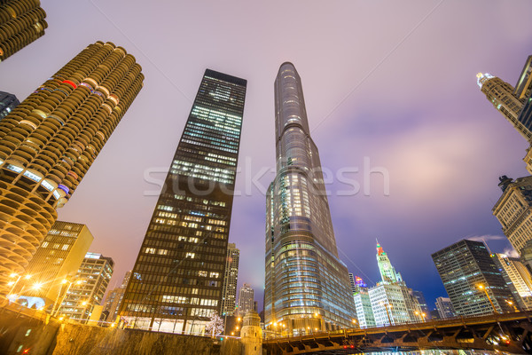 Chicago gece görmek gökdelenler bankalar nehir Stok fotoğraf © jkraft5