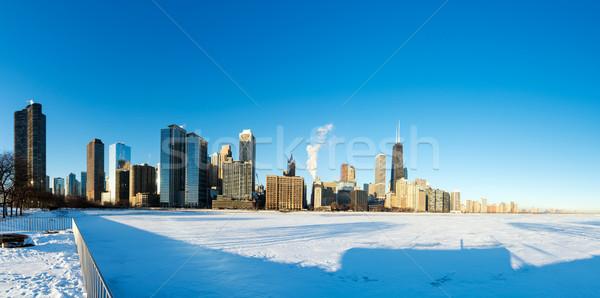 Chicago panorama panoramisch centrum bevroren Stockfoto © jkraft5