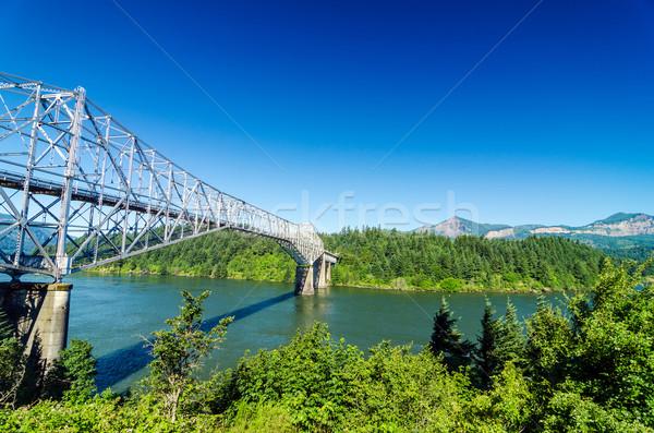 Köprü görmek Oregon nehir ağaçlar yeşil Stok fotoğraf © jkraft5