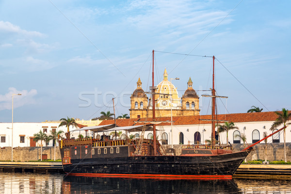 Pirate Ship and Church View Stock photo © jkraft5
