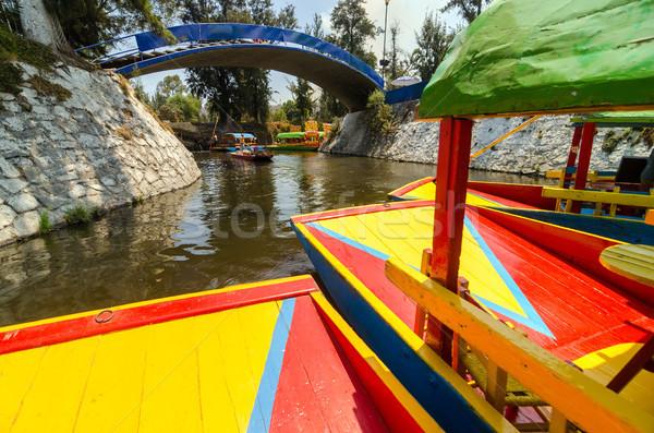 Csatorna színes hajók Mexikóváros város kert Stock fotó © jkraft5