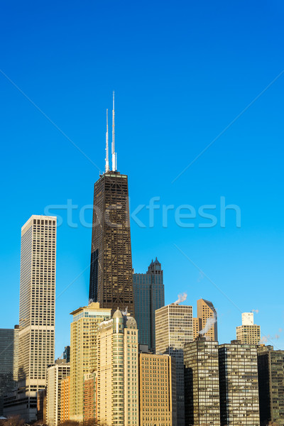 Vertical Chicago cityscape vue gratte-ciel centre-ville Photo stock © jkraft5