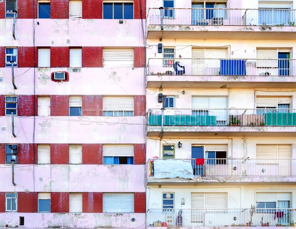 Társasház homlokzat kettő szegény lakás épületek Stock fotó © jkraft5