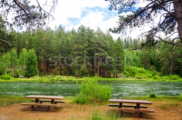 Picnic Tables and River Stock photo © jkraft5