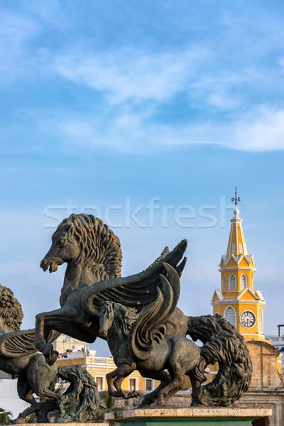Stok fotoğraf: Saat · kule · kapı · ünlü · gökyüzü