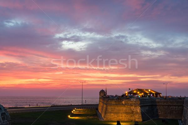 Dramatyczny wygaśnięcia historyczny ściany Kolumbia piękna Zdjęcia stock © jkraft5