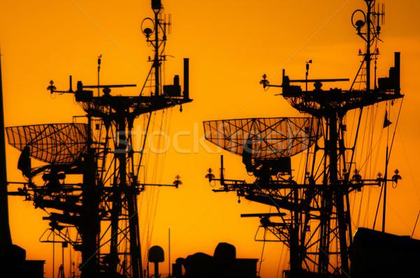Hajók sziluettek hajók naplemente óceán hajó Stock fotó © jkraft5