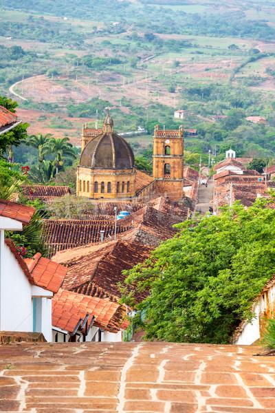 Kasaba katedral görmek dikey Kolombiya alt Stok fotoğraf © jkraft5