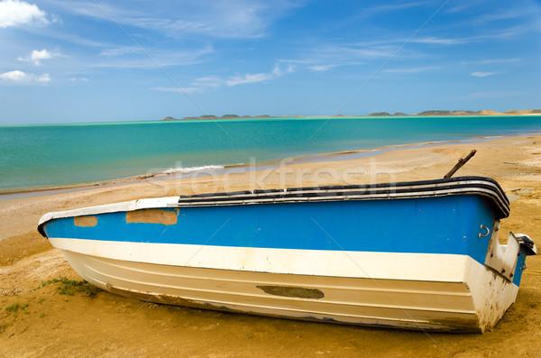 ストックフォト: ボート · ビーチ · 青 · 白 · カリビアン · ラ