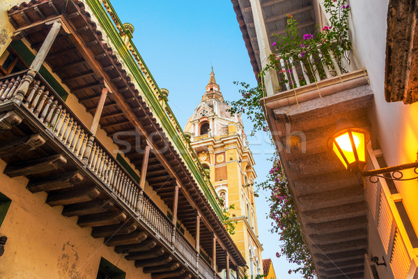 Colonial Balconies and Church Stock photo © jkraft5