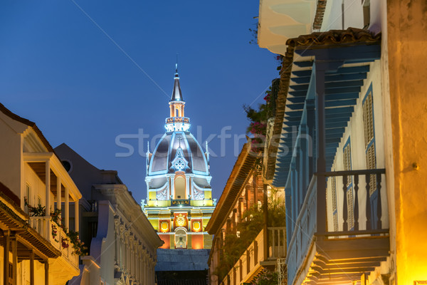 Cartagena Cathedral at Night Stock photo © jkraft5