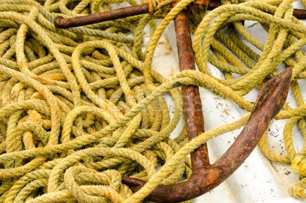 Ancora corda vecchio arrugginito giallo spiaggia Foto d'archivio © jkraft5