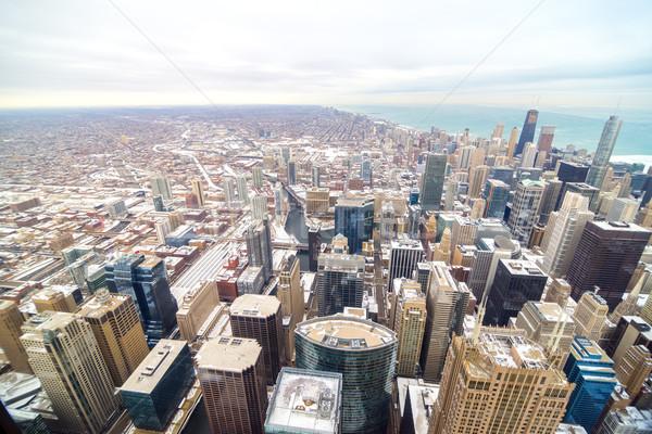 Centre-ville Chicago vue beaucoup bâtiment couvert Photo stock © jkraft5