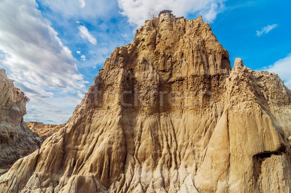 Woestijn rotsformatie drogen hemel natuur Stockfoto © jkraft5