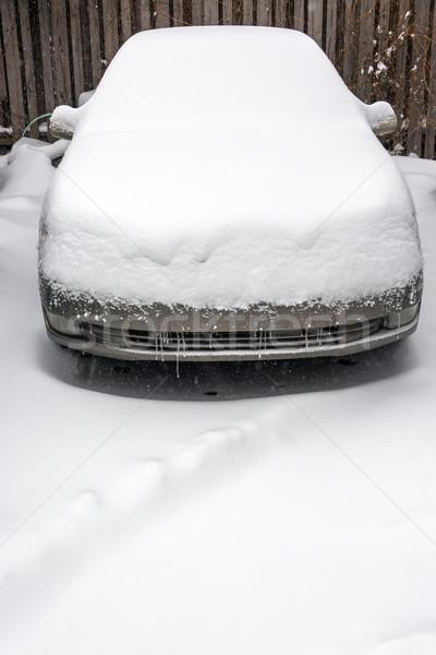 Kar kapalı araba kar fırtınası Chicago buz Stok fotoğraf © jkraft5