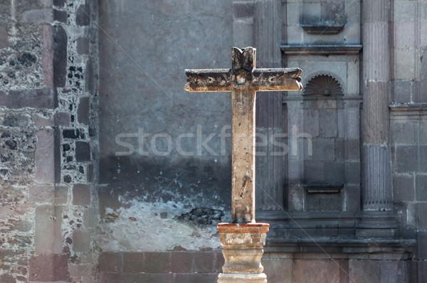 каменные крест Мехико город Vintage антикварная Сток-фото © jkraft5