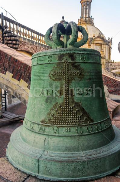 Foto d'archivio: Vecchio · campana · bronzo · tetto · cattedrale · Città · del · Messico
