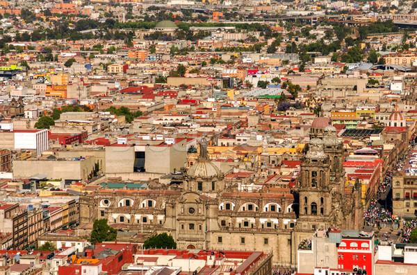 Légifelvétel Mexikóváros katedrális épület város utca Stock fotó © jkraft5
