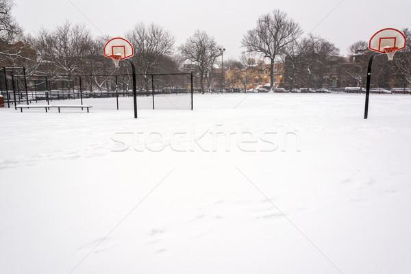 バスケットボールのコート 雪 カバー 公園 シカゴ ストックフォト © jkraft5