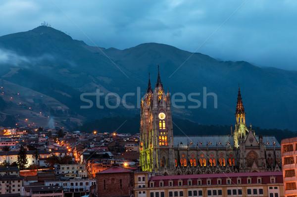 Quito Basilica at Night Stock photo © jkraft5