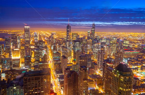 Photo stock: Chicago · Skyline · nuit · temps · vue · centre-ville