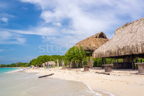 Playa Blanca Beach Huts Stock photo © jkraft5