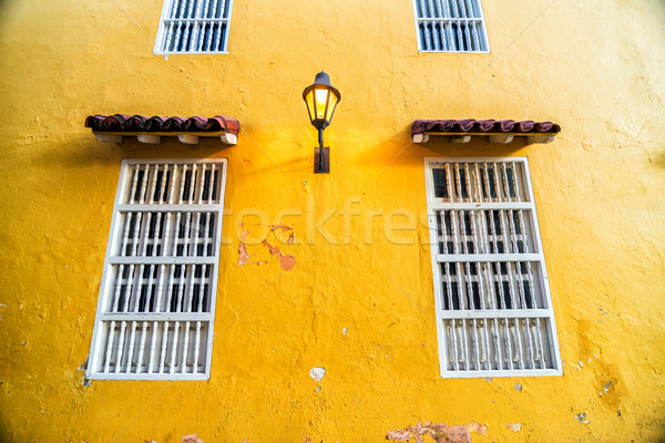 Yellow Wall and Windows Stock photo © jkraft5