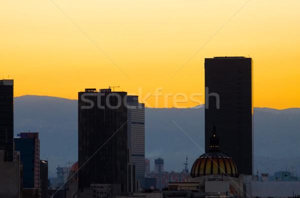 Mexikóváros naplemente felhőkarcolók üzlet épület narancs Stock fotó © jkraft5