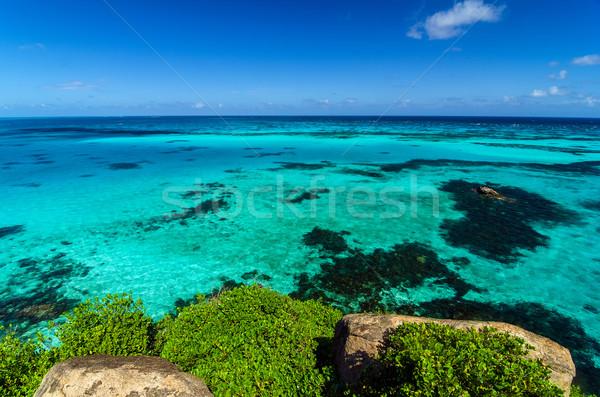 Turkus wody widoku Karaibów górę krajobraz Zdjęcia stock © jkraft5