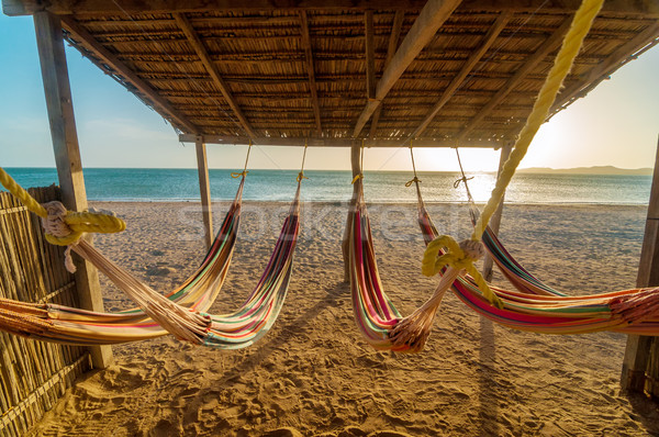 Bright Hammocks and Beach Stock photo © jkraft5