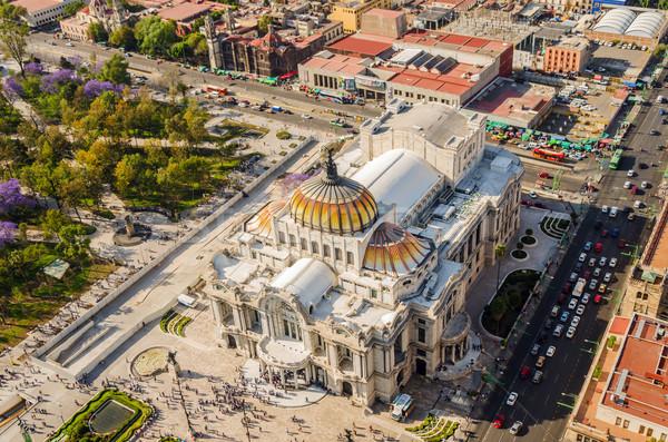 Stock fotó: Mexikóváros · művészetek · múzeum · légifelvétel · égbolt · város