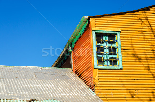 Pomarańczowy budynku Błękitne niebo starych zestaw la Zdjęcia stock © jkraft5