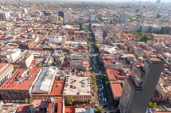Mexikóváros kilátás széles látószögű épület város utca Stock fotó © jkraft5