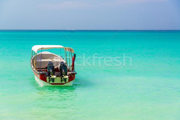 Stock fotó: Türkiz · víz · csónak · Karib · Colombia · előtér