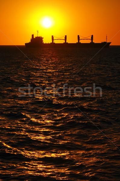 Siluet tekne gün batımı Montevideo Uruguay deniz Stok fotoğraf © jkraft5