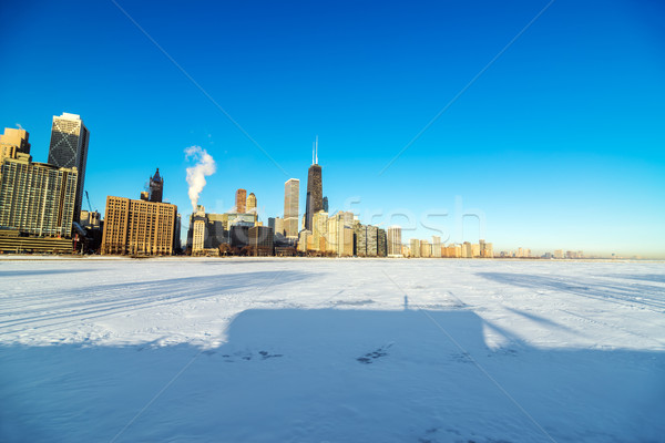 Skyline eingefroren See Ansicht Chicago Michigan Stock foto © jkraft5