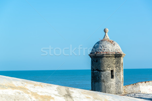 Cartagena Wall and Sea Stock photo © jkraft5