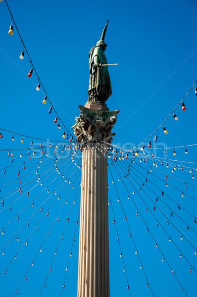 Kamu heykel Noel ışıklar Montevideo mavi gökyüzü Stok fotoğraf © jkraft5